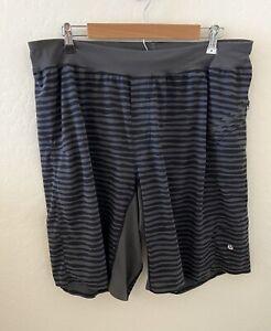 Lululemon Striped Shorts Mens Black Gray Size XL