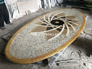 13'x6' Marble Conference Table Top Mother of Pearl Micro Mosaic Inlay Decor E147