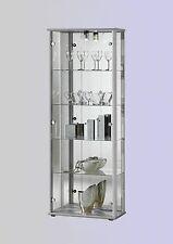 Glasvitrine Vitrinenschrank mit Spiegel beleuchtet in Alu Silber für Sammler