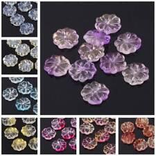 10pcs 15mm Flower Petal Crystal Glass Loose Pendants Beads Jewelry Making DIY
