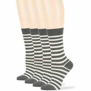 Women's Cotton 4 Pack Striped Dress Casual Crew Socks Large 10-12 Dark Grey