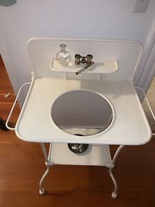 RARE find! Antique White Iron Metal Wash Stand GREAT CONDITION!!
