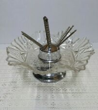 RARE Vintage Nut Cracker Round Glass Bowl Set Complete