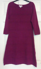 Monsoon Purple Wool Cotton 3/4 Sleeve Jumper Dress Ribbed UK Size 8