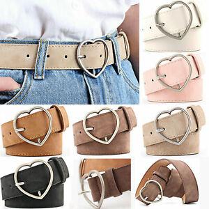 Women's Belt Faux Leather Boho Metal Heart Buckle Waist Waistband Gift UK Stock