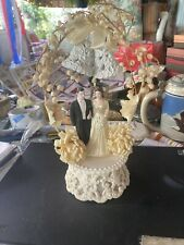 Vtg Bisque Bride & Groom Wedding Cake Topper Flowers & Bells 60 S  Ornate Stand