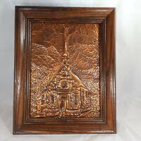 """Vtg Quebec Embossed Copper Art Notre-Dame Des Victoires 12 x 14"""" Wood Frame"""