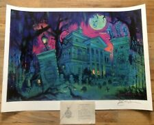 Disney Haunted Mansion Litho Print Under Leota Moon Coa Hand Signed Eric Robison