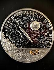 🎇 2007 Cook Islands $5 Brenham Meteorite Silver Coin Kansas Pallasite