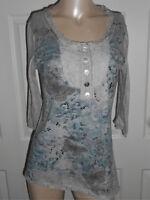 Style & Co. Women's M 3/4  Sleeve High Low Hemline Gray Top Embellished