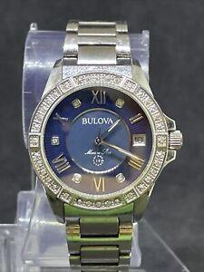 Bulova Marine Star Blue Mother of Pearl Diamond Dial Women's Watch 96R215 #13