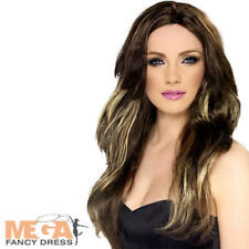 Long Brown Temptress Wig Ladies Celebrity Fancy Dress Womens Costume Accessory