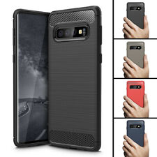 For Samsung Galaxy S10 Plus Shockproof Flexible Carbon Fiber Silicon Case Cover