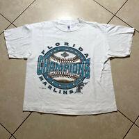 Vintage 1997 Logo 7 Florida Marlins World Series Champions T-Shirt Large VTG MLB