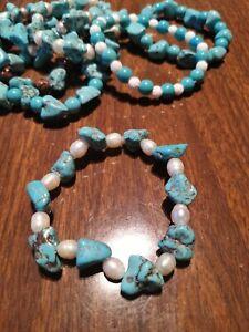 Turquoise chunks and real  pearls  Gemstone Bracelet Stunning bracelet