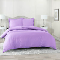 Duvet Cover Set Soft Brushed Comforter Cover W/Pillow Sham, Lavender - Queen