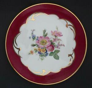 vintage ARIORIA LIMOGES France 19cm DISPLAY PLATE floral bouquet burgundy border