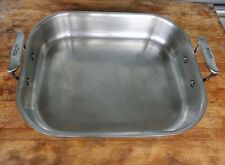 """All-Clad Stainless Steel Small Roasting Pan 14"""" x 11½"""" Stainless Steel, USED"""