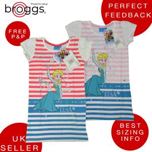 Disney Frozen Elsa Girls Nightie Nightwear Pyjama Night Dress 100% Cotton