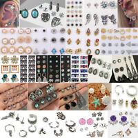 36 Pairs Fashion Rhinestone Crystal Pearl Earrings Set Ear Stud Women Jewelry