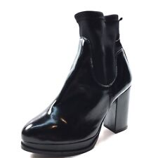 TopShop Black Patent Leather Stretch Ankle Boots Women's Size 37 M*