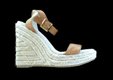 New Michael Kors Women Leather Tan Strap Heels Shoes Wedges Espadrilles 8.5