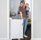 """The Best White Retractable Baby Gate Safety Kids Pets 33"""" x 55 Inch  Simple-Lock"""