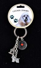 COCKER SPANIEL I Love My DOG Key Chain Little Gifts Key Ring with 3 Charms - NWT