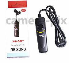 Camera Shutter Release Remote Control w/ Cable RS-80N3 Canon EOS 1D 5D 6D 7D D30