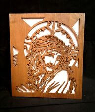 Vintage Maple Scroll Saw Cut Picture Jesus Crown of Thorns Handmade Folk Art