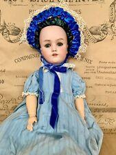 New ListingBeautiful Antique Simon Halbig Handwerck Doll Blue Glass Eyes Needs Wig
