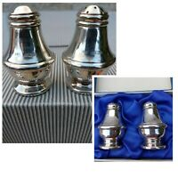 Rare 2 Sets Elegant English Silver Pepper & Salt Shakers Hallmarked Boxed 4 pce
