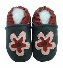 carozoo soft sole leather baby shoes flower dark blue 2-3y
