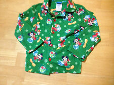 DISNEY 4T long sleeve button down PAJAMA top mickey Christmas donald green