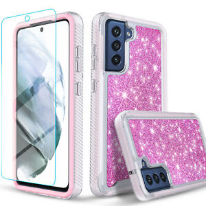 For Samsung Galaxy S21 FE Case, Glitter Diamond Cover + Tempered Glass Protector