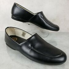 LB Evans Duke Opera Black Leather Slip On Luxury Slippers Loafers Men's 9 M