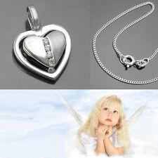 Kinder Baby Taufe Zirkonia kleines Herz Anhänger mit 36 cm Kette Echt Silber 925