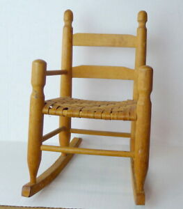 """Vintage Wood and Wicker Doll Size Rocking Chair Small 13 1/2"""" Tall"""