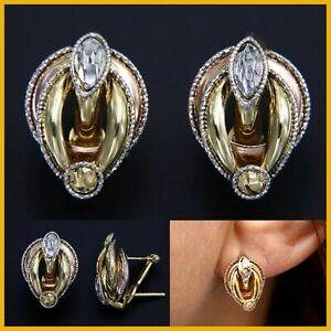 18k 750 Real Yellow White Rose GOLD Omega Back Stud Italian Earrings for Women