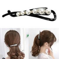 Schwarz Weiß Perlen Bogen Banane Haarspange Diamant Pferdeschwanzhalter
