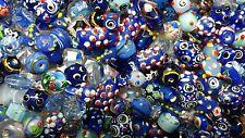 LAMPWORK Glass Bead Mix 50g Blue Mix Jewellery Making
