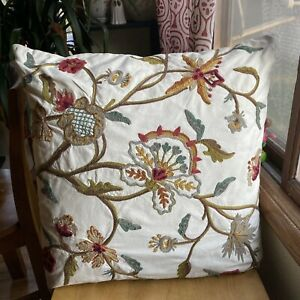 """Pottery Barn EURO Crewel 24"""" Embroidered Feather Pillow Cover Ivory Floral"""