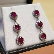 18CT WHITE GOLD OVAL RUBY & ROUND BRILLIANT CUT DIAMOND DROP EARRINGS