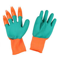 1 Pair Rubber Garden Working Gloves with 4 ABS Plastic Claws for Digging H1