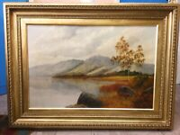 Large Antique 19thc Landscape Oil Painting Scottish Loch Manner Of F.E.Jamieson