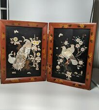 Asian Japanese Lacquer folding screen Mother of Pearl inlay