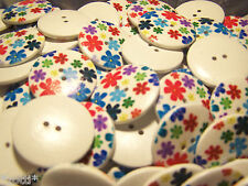 20 Buttons 30 mm Flower Colourful Wood 2 holes 3mm Sew Jewelry Making #