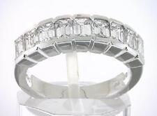 2.25 ct, 9 Stone Emerald Cut Diamond Ring 14k White Gold Band 0.25 ct each F Vs1