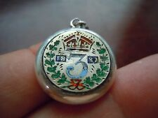 STERLING SILVER PENDANT WITH ENGRAVED/ENAMELED 1887 3 PENCE MOUNTED ON 1 SIDE