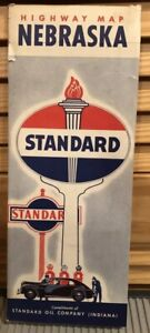 1948 Road Map of Nebraska Standard Oil Service
